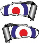 Small Pair Ripped Torn Metal Gash Design & RAF Style MOD Target Vinyl Car Sticker 93x50mm each